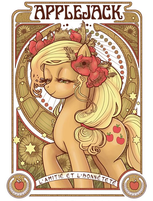Applejack Nouveau by *hezaa on deviantART - cute art noveau styled My Little Ponies on her site: