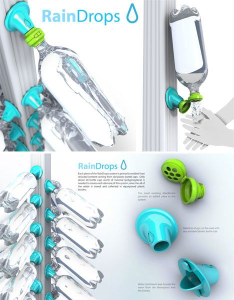 Not only does this innovative system reuse disposable 2-liter bottles, it adapts to an existing gutter system, providing individual-sized amounts of captured water at a very low initial cost. Designed by Evan Gant, the 'Rain Drops' concept could be adapted for use in developing areas where fresh, sanitary water is scarce.