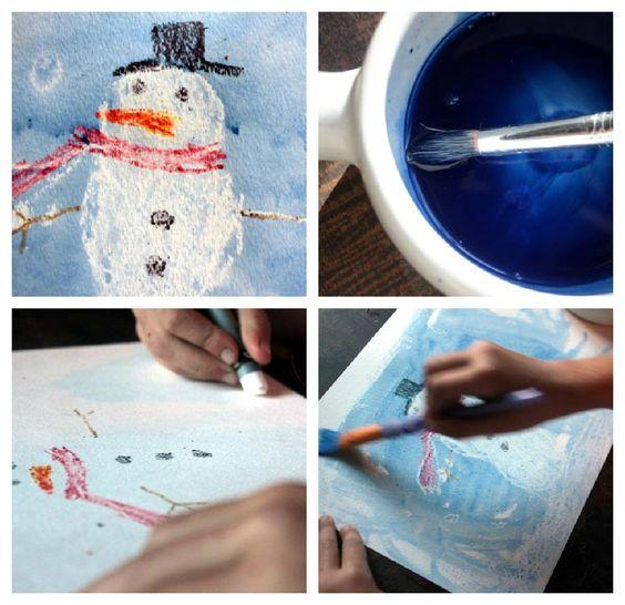 Snowman Wax Resist Painting - Cool effect that always amazes kids!