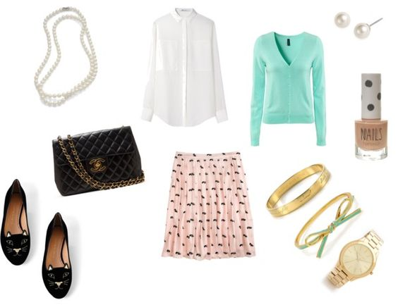 """Styled: Vintage Pearls w/ J. Crew Printed Skunk Skirt"" by thestylebarn on Polyvore"
