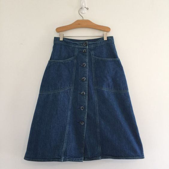 Vintage 70's Button Front Denim Skirt / Aline Jean Skirt S M 27 ...