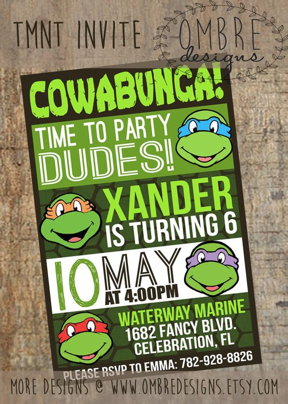 Ninja Turtle Invitation TMNT Invite Ninja Turtle Party