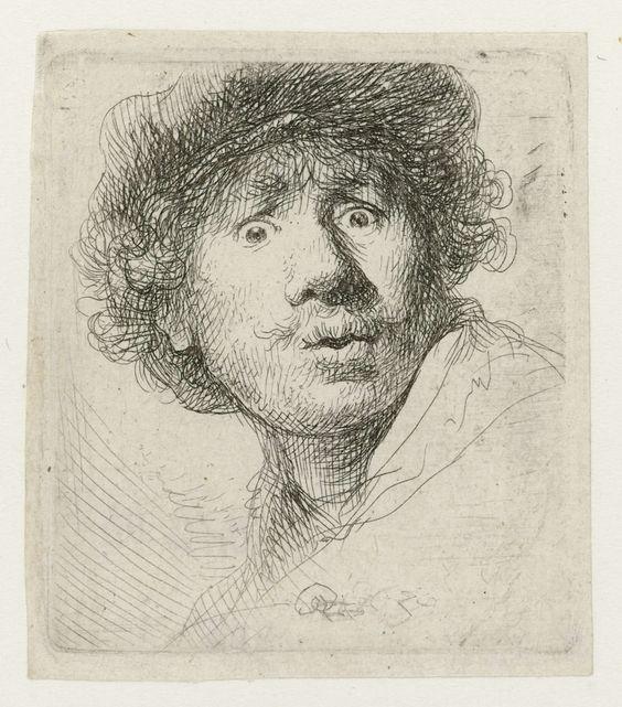Zelfportret met baret en opengesperde ogen, Rembrandt Harmensz. van Rijn, 1630: