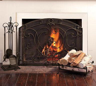 Aspen Single Screen Fireplace Collection #potterybarn