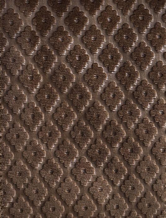 Cassandre Velvet Damask Embossed brown velvet with small geometric ...