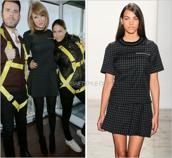 Capital FM interview | London, England | October 9, 2014 Timo Weiland Fall 2014 Taylor did more promotion in London this morning first at BBC Radio 1 and at Capital FM wearing this matching top and skirt from Timo Weiland's fall collection. This is probably (so far) my favourite thing she's worn on her promo tour. I love the black tights, the heeled booties, the zipper detail, the forest green colour and checked pattern that sort of reads grown up schoolgirl. Worn with: Jimmy ...
