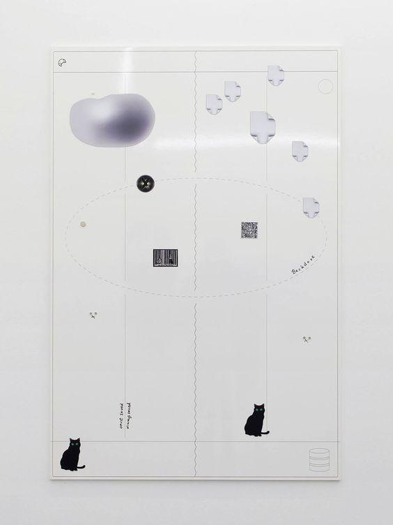 Aureool (Scrum Kanban), 2015. UV print on whiteboard, custom magnets, marker. 60…