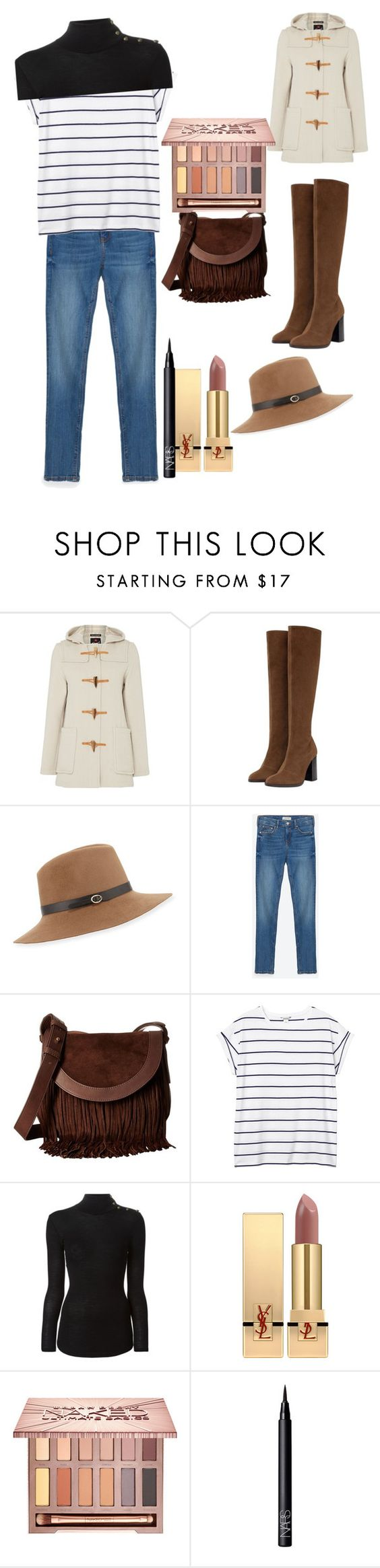 """""""Untitled #596"""" by samson-90 ❤ liked on Polyvore featuring Gloverall, Zara, Inverni, Frye, Monki, Balmain, Yves Saint Laurent, Urban Decay and NARS Cosmetics"""