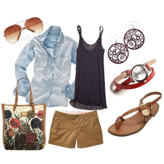 Love the navy with khaki and denim and the sunglasses