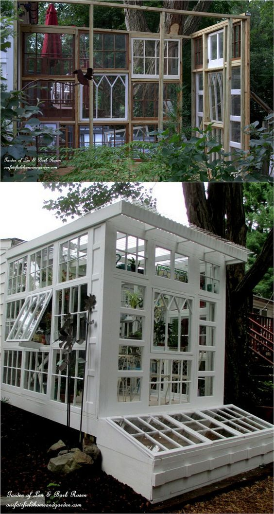 shed transformation construction using old windows!