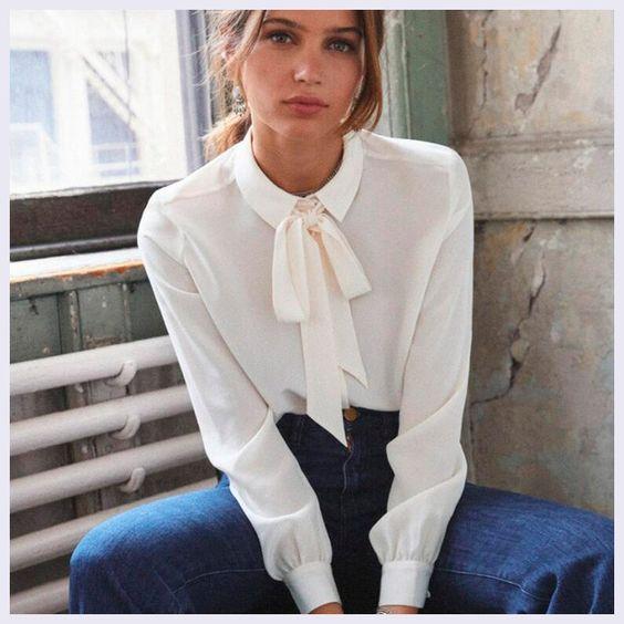 Элегантная шелковая блуза с бантом с Aliexpress, 100% шелк, цена 3 238 руб.