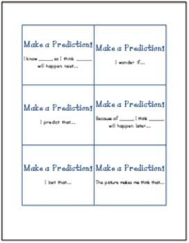 Comprehension Sentence Starter Cards (36 cards total for predicting, connecting, clarifying, questioning, commenting, and synthesizing texts) FREE!