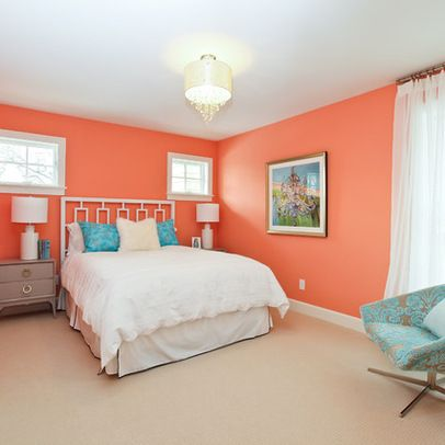 Bedroom peach wall color design ideas pictures remodel for Blue and peach bedroom ideas