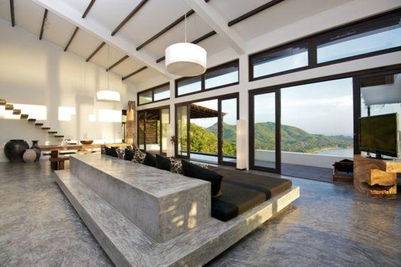 Beton Bodenbelag lackiert poliert modern hochwertig Betonbett - interieur bodenbelag aus beton haus design bilder