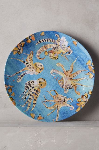 Dinner plates under the sea and plates on pinterest for Calligrapher canape plate anthropologie