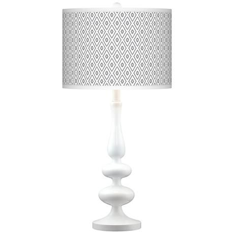 Diamonds Giclee Paley White Table Lamp