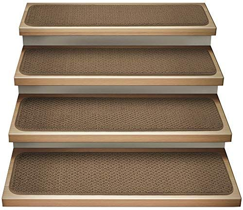 House Home And More Set Of 12 Attachable Indoor Carpet Stair Treads Toffee Brown 8 Inches X 30 Inches In 2020 Indoor Carpet Carpet Stair Treads Carpet Stairs