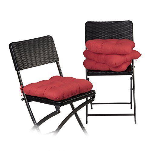 Relaxdays Coussin De Chaise Lot De 4 Lavable 10 Cm Epaisseur Doux