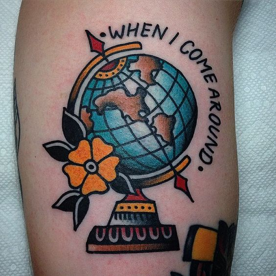 """""""Green Day globe for @thephatbeach thanks for making the drive!!"""".    [[Lyric with image inspiration]]"""
