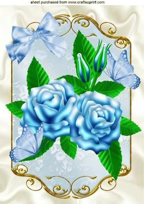BLUE ROSES AND BLUE BUTTERFLIES IN ORNATE FRAME A4 on Craftsuprint - Add To Basket!: