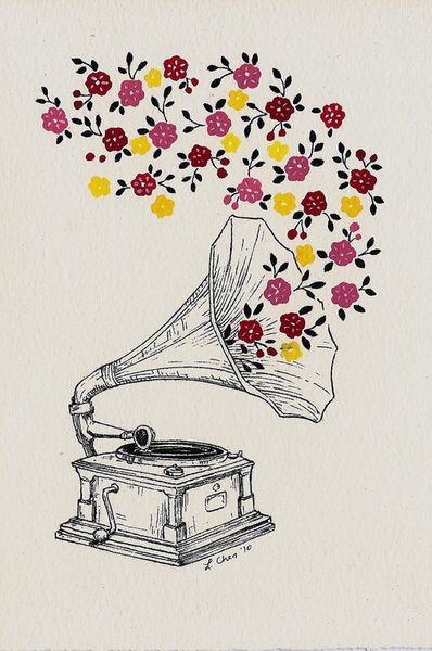 colours draw old white flowers music colorful love drawing phonograph colourful illustration flower color art vintage rainbow colors colour monochrome black - picslist.com: