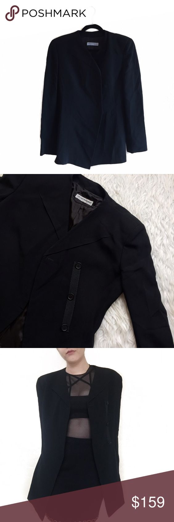 """• Armani • Cape Style Blazer Wear open for a work look or closed for a runway look! Made in Italy; size 42.   \\ bust 18""""  \\ length 29"""" Emporio Armani Jackets & Coats Blazers"""