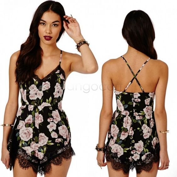 Macacao Feminino Female Coveralls Flower Ladies Overalls For Women Jumpsuit Chiffon Suspenders Sexy Jumpsuit 41
