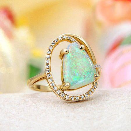 14k Yellow Gold Rainbow Fire Solid Australian Crystal Opal, Diamond Ring... My birthstone