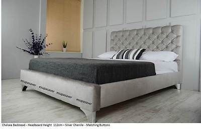 Chelsea Upholstered Chenille Bed Frame All Colours & Sizes Diamante Made in UK