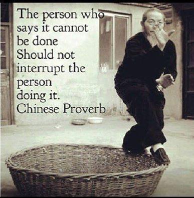 """""""La persona que dice que no se puede hacer no debe de interrumpir a la persona que lo esta haciendo"""" Proverbio Chino"""