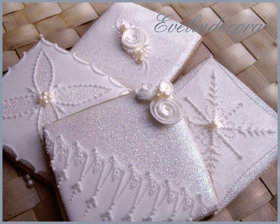 White Glittered Cookies