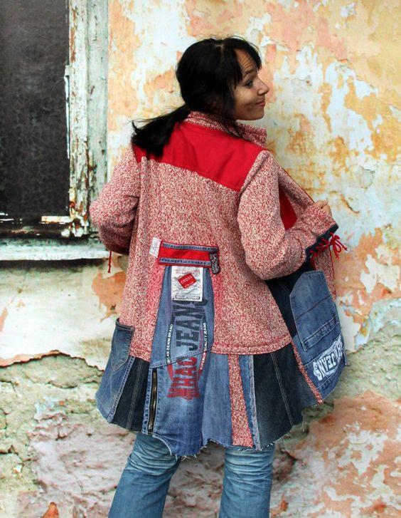 Loco L/XL suéter del dril de algodón patchwork por jamfashion