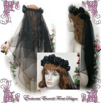 Black Gothic Rose Halo Wedding Veil