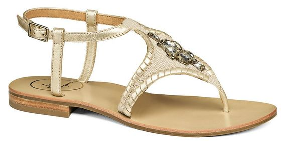Maci Gold Metallic Sandals with Jewel Embellishment