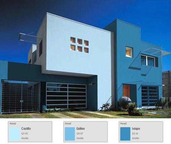 Una fachada en tonos azules para una casa que brinda calma y elegancia azul home - Fachada de una casa ...