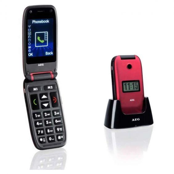 AEG M410 Telefono a conchiglia con pulsanti grandi, doppio schermo ,ottimo suono.Facile da usare. Base di ricarica inclusa nella confezione.