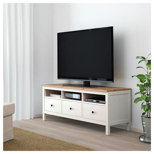 hemnes tv bank weiss gebeizt hellbraun