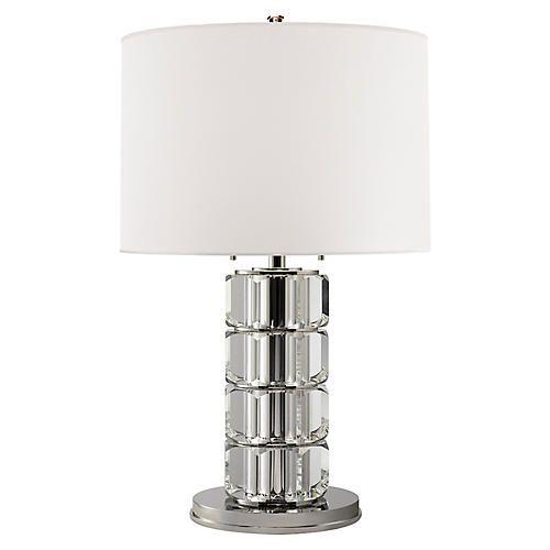 Brookings Large Table Lamp Crystal Nickel Lamp Table Lamp