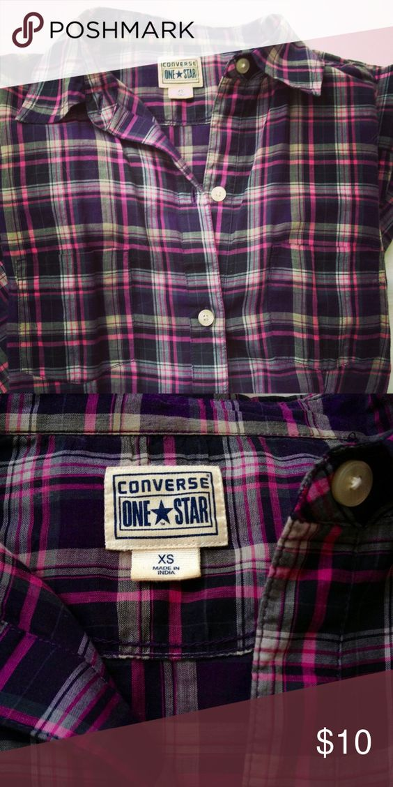 Converse shirt purple plaid. New. Lightweight Converse shirt in beautiful purple plaid. Long sleeves. Size x-small. No flaws. New. Converse Tops