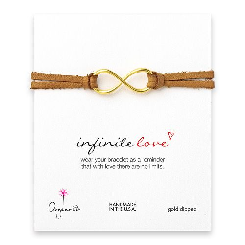 large infinite love gold dipped bracelet on latte leather $72