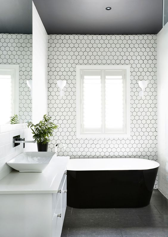 You Might Want A Painted Ceiling After See These Katrina Chambers Ceilings White Hexagonal Tile And Bath