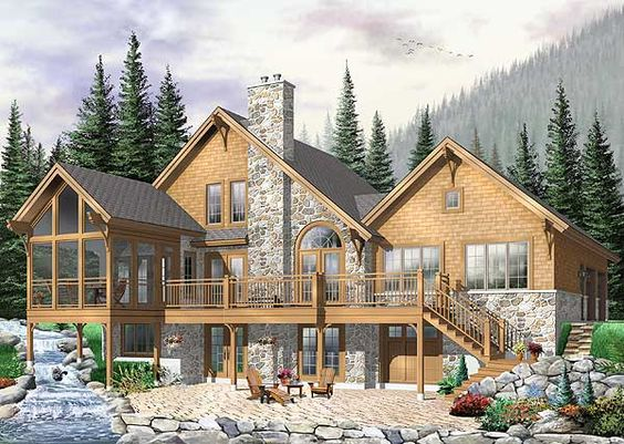 Plan DR  Vacation Retreat   House plans  Vacations and CraftsmanPlan W DR  Metric  Sloping Lot  Luxury  Craftsman  Mountain  Vacation