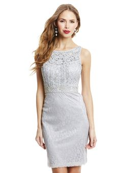 Very cute dress Sue Wong Platinum Lace Overlay Cocktail Dress ...