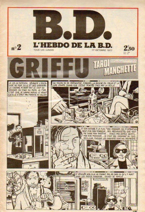 N°2 L'HEBDO DE LA BD 1977 avec TARDI LORO REISER CARALI DIMITRI GÉBÉ