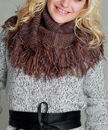 Loving this Rust Mélange Fringe-Trim Infinity Scarf on #zulily! #zulilyfinds