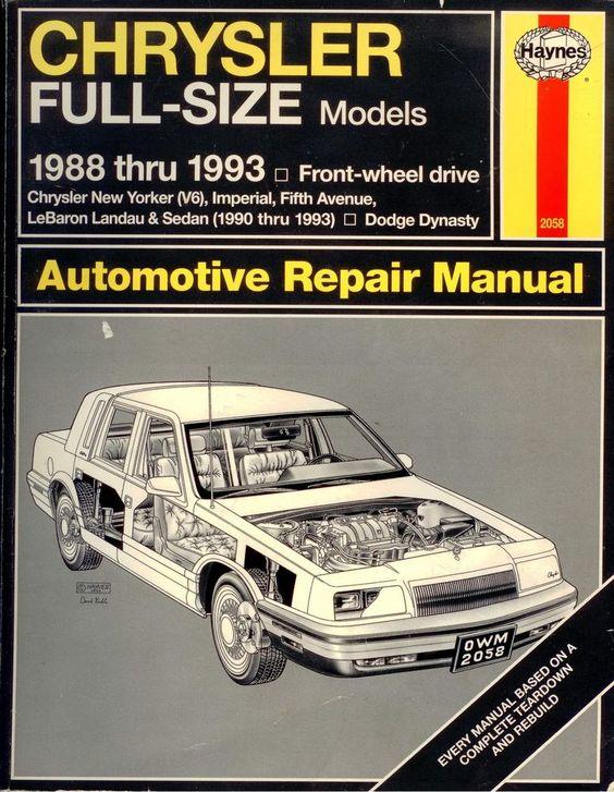 Haynes Chrysler Full-Size Models  Automotive Repair Manual 1988-1993 Used