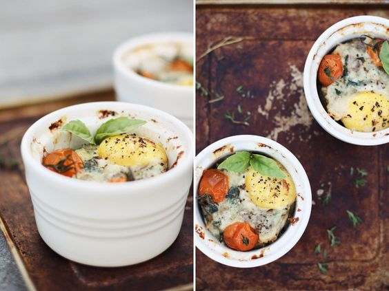 Baked Eggs with Swiss Chard, Parmesan, and Roasted Tomatoes | chow ...