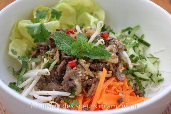 La cuisine des soeurs Miam Miam: BO BUN - SALADE DE VERMICELLE AU BOEUF