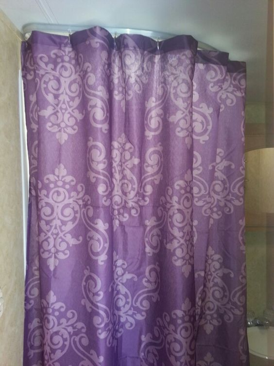 6 Shower Curtain From Family Dollar And It 39 S Purple Decorating Toy Hauler Camper Remodel