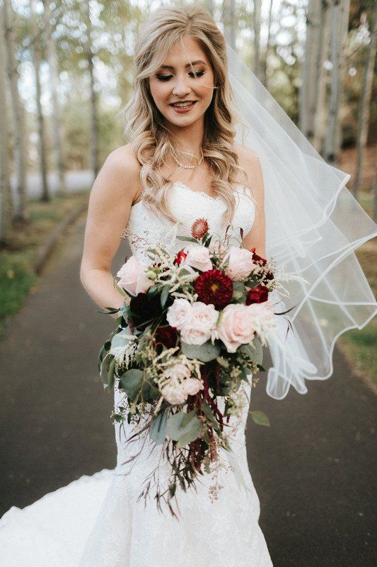 Cascading Wedding Bouquet With Burgundy Light Pink Flowers And